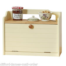 Large Wooden Bread Bin Box by Country Kitchen Buttermilk Cream with Shelf - New