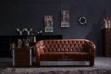 3 Seater Sofa Industrial Aviation Vintage Whisky Brown Real Top Grain Leather
