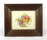 Antique Vintage Theorem Painting on Fabric Fruit Bowl Grapes Signed USF