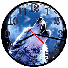 "8"" WALL CLOCK - Wolf 6 Wolves Spiritual - Kitchen Office Bathroom Bar Bedroom"