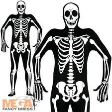 Skeleton Bodysuit Mens Fancy Dress Skull Bones Adults Halloween Jumpsuit Costume