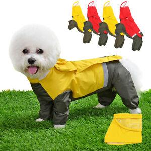 Small Medium Dog Raincoats with Hood Waterproof Reflective Rainwear Yellow Red