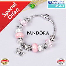 Authentic Pandora  Flowers Stainless Steel Butterfly European Charms Bracelet