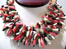 VINTAGE MULTISTRAND FOUR STRAND SEASHELL NECKLACE CHIPS PINK BROWN WHITE JAPAN