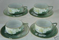 ANTIQUE NIPPON CUP/SAUCER SET 8PC PALE GREEN,WATER LILY OR IRIS FLOWER,GOLD RIMS