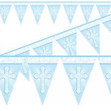 Battesimo Pennello 12ft Bandierine Banner con Croce - Blu