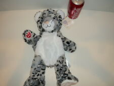 "NWT Build A Bear 16"" UNSTUFFED ""SNOW LEOPARD"" WHITE & SPOTTED GREY ZOO"