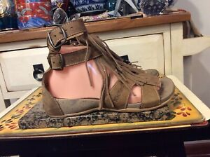 Kickers Brown Leather ankle strap fringe flat  Sandals Women's Shoes 38 -US-7