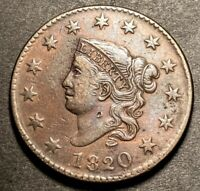 1820 Coronet Head US Large Cent 1c High Grade Obsolete Type Coin XF-AU