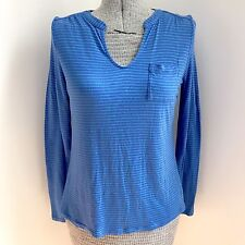Liz Claiborne Blue Long Sleeve Women's Stripe Stretch Top Petite Medium PM A3
