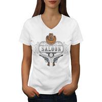 Wellcoda Saloon Western USA Womens V-Neck T-shirt, Drinking Graphic Design Tee