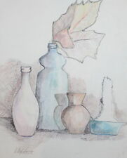 1975 Pastel Ink Painting Still Life Bottles Vase Candle Signed