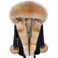 Women Real Fox Nyctereutes Raccoon Sheep Fur Parka Coat Hooded Jacket Overcoat