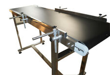 "59""×15.7"" Pvc Belt Conveyor Machine: 110V,120W,Double Guardrails,Stainless Steel"
