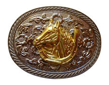 Western Gold Horse Belt Buckle