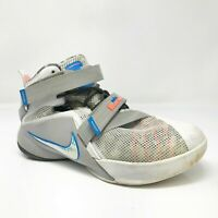 Nike Boys Lebron James Soldier IX 776471-101 Gray White Basketball Shoes Size 7Y