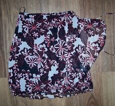 SUSSAN 14/12 BLACK WHITE & RED FLORAL CHIFFON FULLY LINED WRAP-AROUND SKIRT