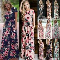 UK Womens Loose Maxi Sundress Pleated Holiday Ladies Elastic Wasit Long Dress