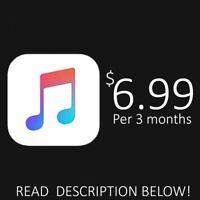 APPLE MUSIC ACCOUNT FOR 3 MONTHS! READ DESCRIPTION (IMPORTANT!)