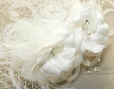 Wedding Bridal Feather Flower Fascinator Birdcage Netting Veil Hair Comb -CA