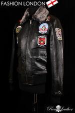 Men's TOP GUN Bomber Jacket G1 Aviator Pilot Cowhide Leather Jacket Black Badges