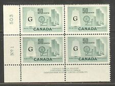 "Canada #O38a 1961 50c Textile Industry - ""Flying G"" Overprint, PB4 LL P#1 NH"
