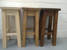 Rustic Heavy Duty Chunky Pine Bar/ Kitchen  Stool (Can be made to any size)