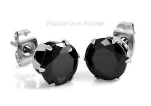 Black Round Shinny CZ Cubic Zirconia Pierced Stud Earrings for Men Women