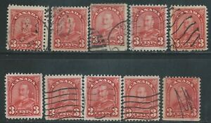 Canada #167(2) 1931 3 cent deep red KING GEORGE ARCH/LEAF V 10 Used