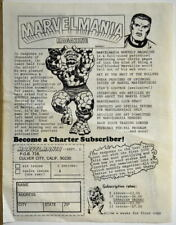 1969 Marvelmania Magazine 2 Sided ORDER FORM & Merchandise Promotion Kirby art