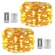 50Led Battery Operated String Lights Remote Control 8 Modes 16.4Ft Warm Set of 2