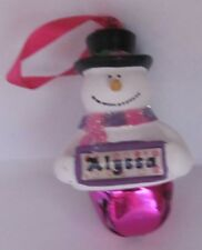 25318 ALYSSA NAME FROSTY SNOWMAN COLOUR BELL CHRISTMAS TREE DECORATION GIFT