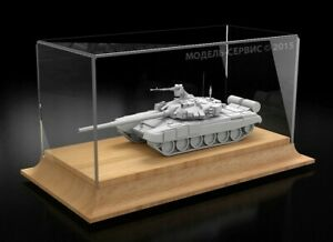 Display case on wooden base for tank models in 1:72 scale or auto in 1:43 scale