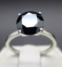 2.52cts 8.77mm Real Natural Black Diamond Engagement Ring Aaa Grade $1460 Value-