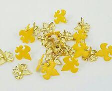 Fleur de Lis Brads Gold Dark Yellow 24 pcs Scrapbook Cub Boy Scouts Crafts