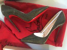 Christian Louboutin 100% auténtico así que Kate Metálico Zapatos De Lona EU 39/UK 6