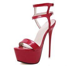 High Heels Damen Stilettos Pumps Sexy Sandalen Plateau Schuhe Peeptoes Lack DE