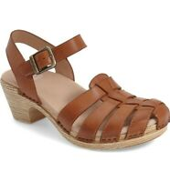 DANSKO womens size 41 (10.5-11) Milly brown leather heeled strappy sandals shoes