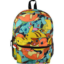 "Nintendo Pokemon Pikachu Charmander Eevee All Over Print 16"" Backpack Book Bag Y"