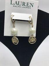 Lauren Ralph Lauren Gold Tone Crest & Imitation Pearl Drop Earrings J10
