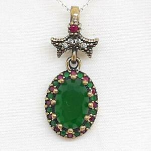 Deco 4.00ctw Emerald, Ruby & Diamond Cut Sapphire 14K Yellow Gold Silver Pendant