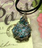 UNIQUE HAND-CRAFTED SILVER-WIRE-WRAPPED MOTHER OF PEARL PENDANT - 2 INCHES