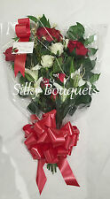 Artificial Silk Funeral Flower Rose Lily Sheath Tribute Memorial False Grave