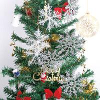 12pcs Silver Snowflake Plastic Ornaments Christmas Holiday Party  Xmas Decor