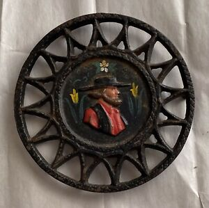 Vtg Cast Iron Trivet Painted County Amish(?) Great look!