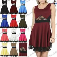 Womens Ladies Party Flared Franki Waist Lace Scoop Neck Sleeveless Skater Dress