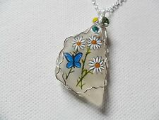 """Daisy and blue butterfly handpainted sea glass necklace - 18"""" silver plate chain"""