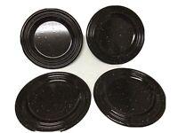 "Farmhouse Black Speckled Enamelware 11"" Camp Plates Set Of Four"