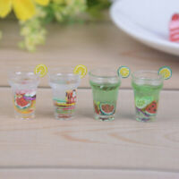 2Pcs 1:12 Dollhouse mini resin fruit drinks fruit juice simulation model toy ZX