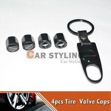 DODGE Black Car Wheel Tire Valves Dust Stems Air Caps Keychain DODGE Logo Emblem